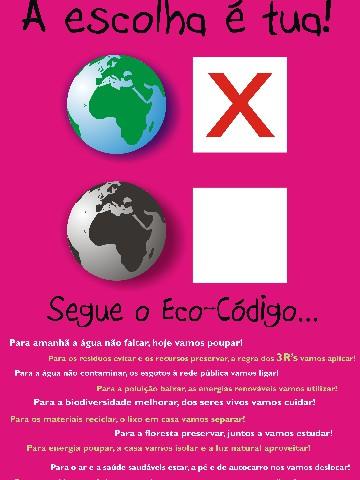 Poster Eco Código Programa Eco Escolas Associação Bandeira Azul